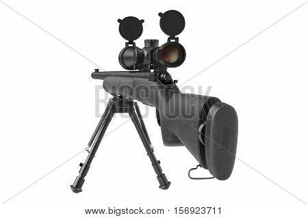 Rifle sniper firearm optical military gun, back view. 3D rendering