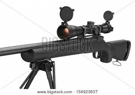 Rifle sniper military gun equipment, close view. 3D rendering