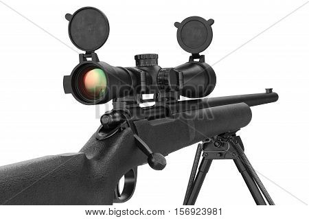 Rifle sniper military with lens optical scope, close view. 3D rendering