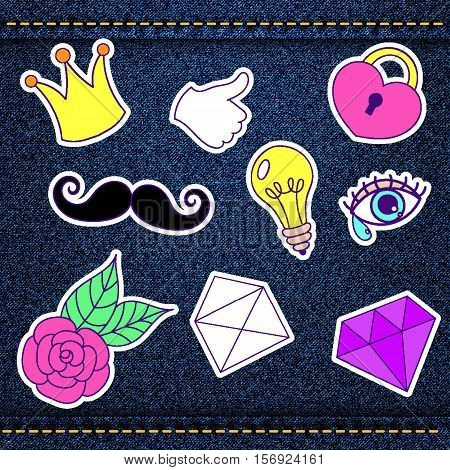 Fashion patch, retro badges with thumb up, heart, diamond, eye, mustache, light bulb, rose, letter, crown over denim jeans texture with strings and seams. Cute stickers, pins for embroidery