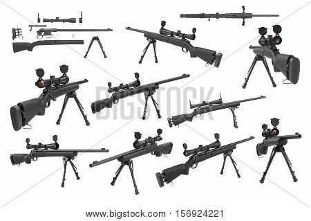Rifle sniper with optical scope weapon gun black steel set. 3D rendering