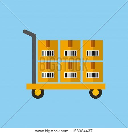 handcart with carton boxes over blue background. colorful design. vector illustration