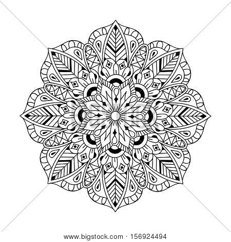 Zentangle Mandala in doodle style. Hand drawn zen vector illustration for adult antistress coloring pages, books, art therapy, mehendy t-shirt print. Template for tattoo design with mehndi elements.