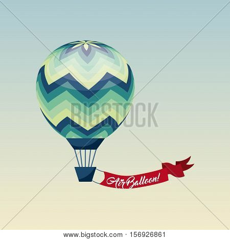 air balloon vehicle with red ribbon over white background. colorful design. vector illustration