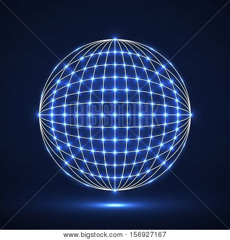 Abstract geometric technology shape of glowing dots network connection. Neon global digital connections
