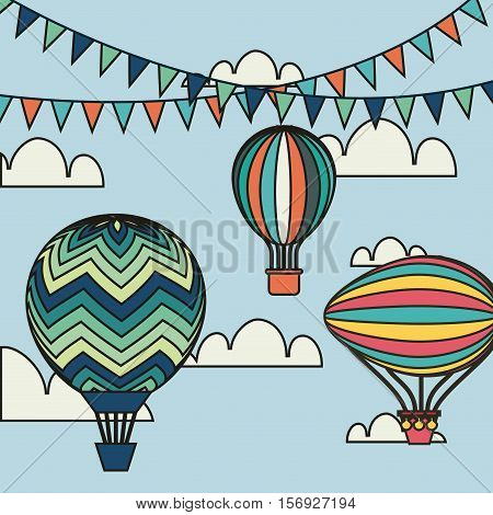 air balloons with decorative pennants over white background. colorful design. vector illustration
