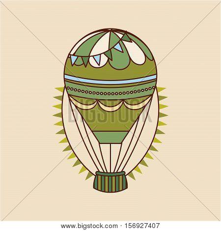 green air balloon vehicle . colorful design. vector illustration