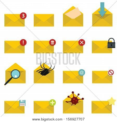 Letters mail set in flat style isolated on white background vector stock illustration