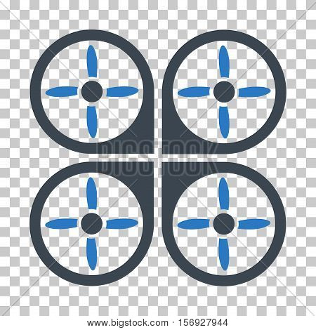 Copter EPS vector icon. Illustration style is flat iconic bicolor smooth blue symbol.