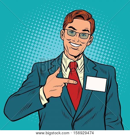 Smiling Manager with a name badge, pop art retro vector illustration. Caucasian European people