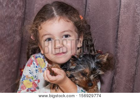 Cute little girl cuddle puppy Yorkshire Terrier at home