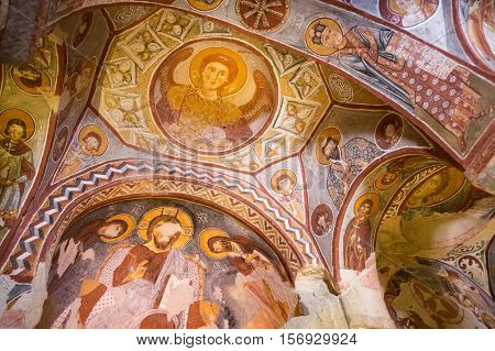 GOREME TURKEY - JUNE 23 2015: Church from the Byzantine period built by the Cappadocian Greeks in Goreme national park Central Anatolia Turkey