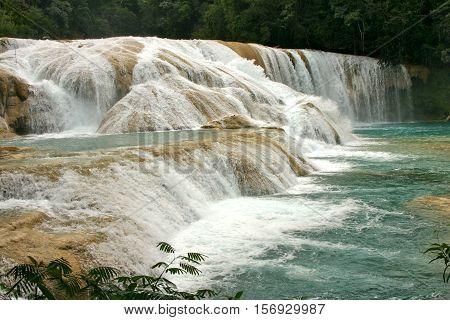 turquoise waterfalls Cataratas de Agua Azul Mexico