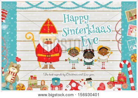 Cartoon Sinterklaas or Saint Nicholas - Dutch Santa Claus and Pete on White Wooden Background. Holiday Frame. Christmas in Holland. Xmas Card. Vector Illustration.