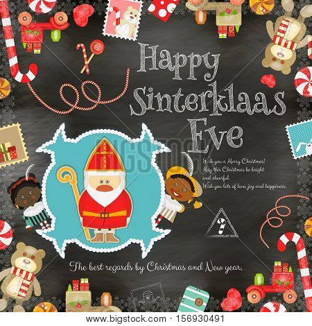 Cartoon Sinterklaas or Saint Nicholas - Dutch Santa Claus and Pete on Blackboard Background. Holiday Frame. Christmas in Holland.Vector Illustration.