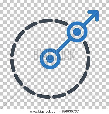 Round Area Exit EPS vector icon. Illustration style is flat iconic bicolor smooth blue symbol.