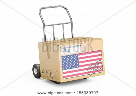 Made in USA concept. Cardboard Box on Hand Truck 3D rendering isolated on white background