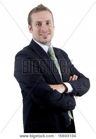 Young business man on white