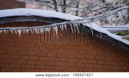 Icicles On Trees And Building Snow Landscapes, Ice Icicles