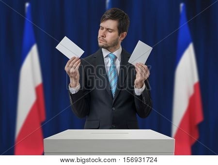 Election In France. Undecided Voter Is Making Decision.