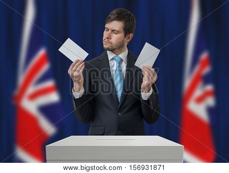 Election In United Kingdom. Undecided Voter Is Making Decision.