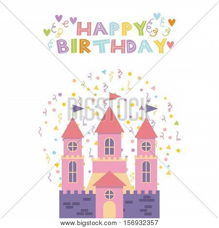 happy birthday card with cute pink castle icon over white background. colorful design. vector illustration