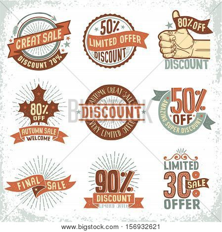 Discount sale coupons logo labels in vintage retro doodle style on a white background. Vector layered illustration.
