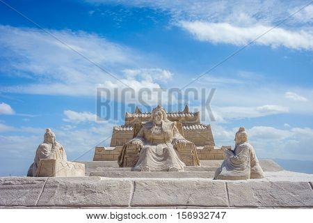 Genghis Khan Statue At Chaqia Salt Lake, China