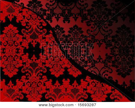 Delicate lacy Victorian pattern in black and red