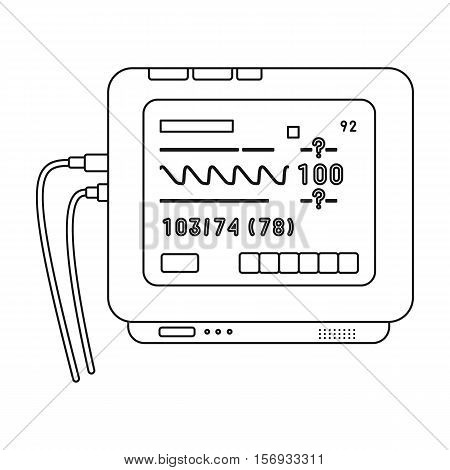 ECG machine icon in outline style isolated on white background. Medicine and hospital symbol vector illustration.
