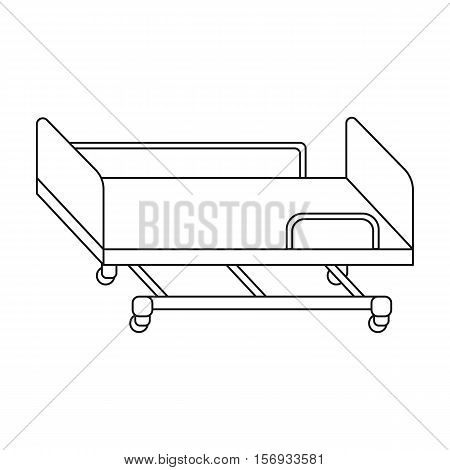 Hospital gurney icon in outline style isolated on white background. Medicine and hospital symbol vector illustration.