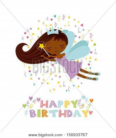happy birthday card with cute fairy girl icon over white background. colorful design. vector illustration