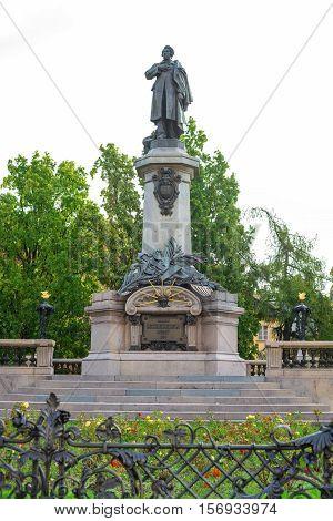 Polish Poet Adam Mickiewicz Monument In Warsaw City