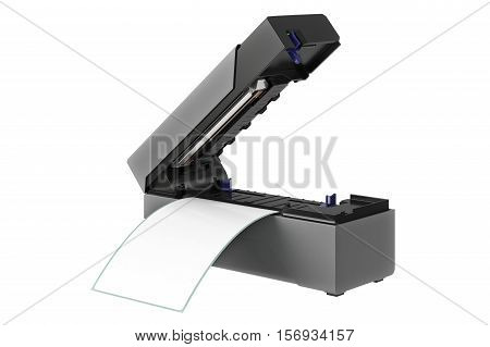 Barcode printer open digital electronic printout. 3D illustration