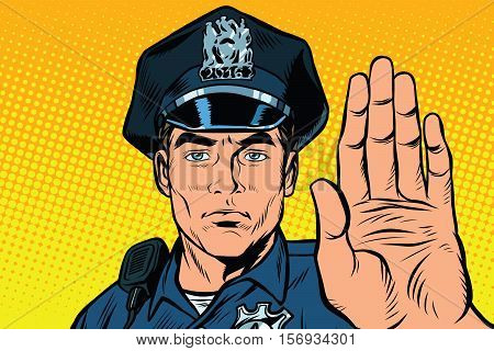 Retro police officer stop gesture, pop art retro vector illustration. Law and order. close-up