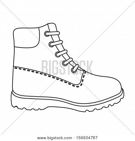 Hiking boots icon in outline style isolated on white background. Shoes symbol vector illustration.