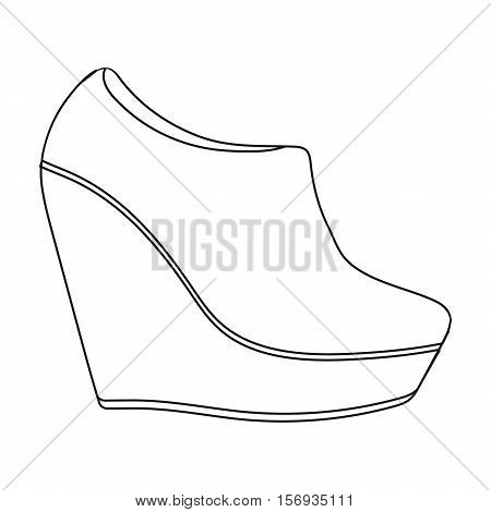 Wedge booties icon in outline style isolated on white background. Shoes symbol vector illustration.