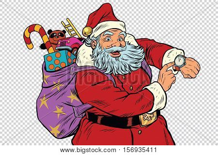 Santa Claus shows on the clock, New year and Christmas, pop art retro vector illustration. Checkered background to simulate transparency