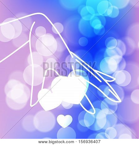 Stock blurred texture with bokeh effect and stylized hand in a graceful gesture with shining hearts