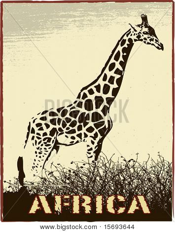 Africa image with giraffe silhouette