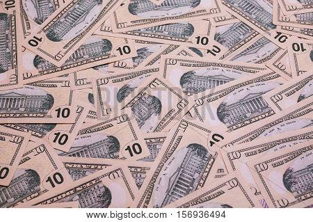 background of the money 10 dollar bills back side. background of dollars savings