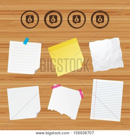 Business paper banners with notes. Money bag icons. Dollar, Euro, Pound and Yen speech bubbles symbols. USD, EUR, GBP and JPY currency signs. Sticky colorful tape. Vector
