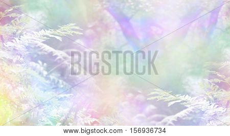 Rainbow Woodland Scene Background - rainbow colored woodland with delicate ferns and sunshine creating a magical ethereal angelic background scene