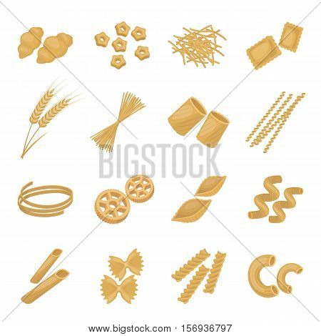 Types of pasta set icons in cartoon style. Big collection of types of pasta vector symbol stock