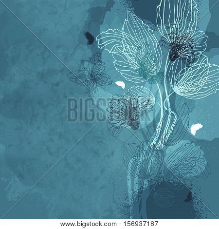 Grunge Blue Background With Flowers And Butterflies