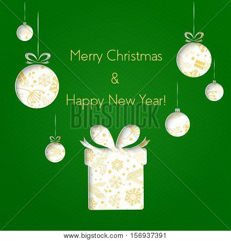 Abstract green Christmas balls and gifts cutted from paper on green background. Happy Hollidays and New Year. Christmas postcard
