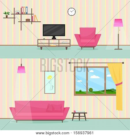Colorful flat style livingroom interior illustration with sofa, TV, windows and lamp