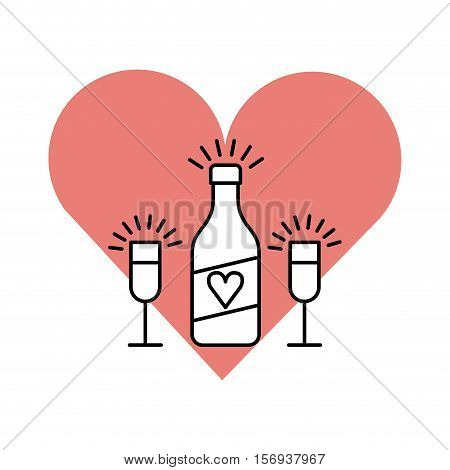 pink heart with bottle and glasses icons over white background. celebrate with us design. vector illustration