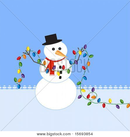 Snowman holding a string of christmas lights