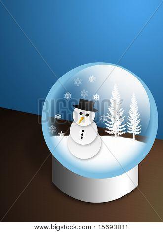 Snow man in a snow globe